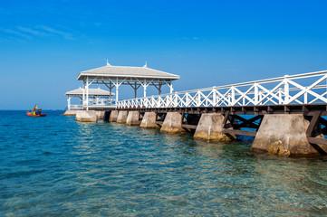 Wood waterfront pavilion in Koh si chang island, Thailand. AsDang Bridge.