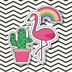 cute patches flamingo cactus rainbow badge fashion vector illustration