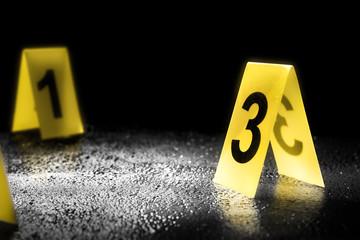 Fototapeta evidence markers on the floor, high contrast image