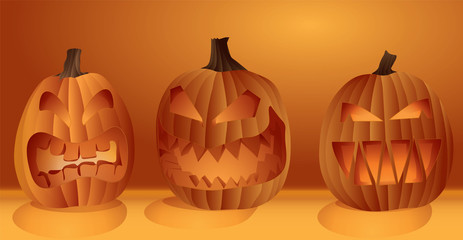 Set of glowing Halloween pumpkins with carved scary faces orange and yellow vector illustration.