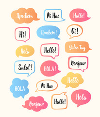 Trendy color speech bubbles set with hello in different languages: hello, salut, hallo, bonjour, hola etc. Communication with people from different countries concept. Vector illustration