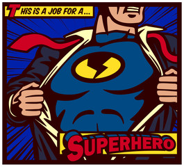 Pop art comic book style panel superhero tearing shirt and wearing costume vector poster illustration