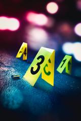 Fototapeta crime scene with evidence markers, high contrast image