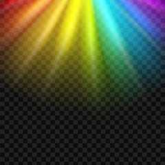Creative vector illustration of rainbow glare spectrum isolated on transparent background. Art design gay pride colors. Abstract concept graphic element