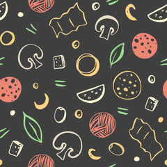Seamless pattern of color pizza ingredients on dark background. Vector illustration