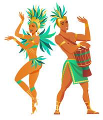 Set of Brazilian samba dancers. Vector carnival girl and guy dancing.