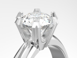 3D illustration close up white gold or silver solitaire engagement diamond ring