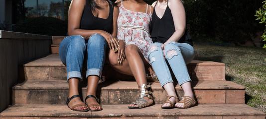 Three Teen Girls Sitting on Steps