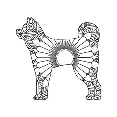 drawing zentangle for dog adult coloring page vector illustration