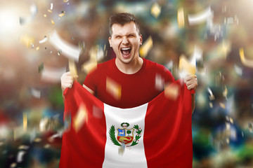 Peru is a fan, a fan of a man holding Peru's national flag in his hands. Soccer fan in the stadium. Mixed media
