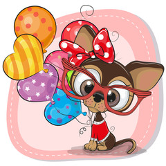 Cute Cartoon Puppy with balloons