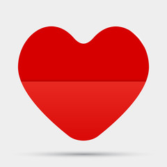 One Red Heart Valentines Day, Love. Card.