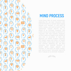 Mind process concept with thin line icons: intelligence,  passion, conflict, innovation, time management, exploration, education, logical thinking. Modern vector illustration for web page.