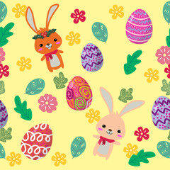 Cute Bunny and easter eggs seamless pattern with colorful flower on cools background for easter festival