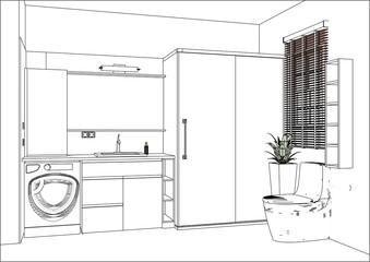 Vector illustration. Linear sketch of an bathroom interior. Interior design. Modern bathroom furniture design with appliances and decors. Home Interior Design Software Programs.