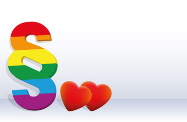 Gay rights - symbolized by a rainbow pride colored paragraph and to hearts, concerning homosexual life.