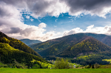 gorgeous Carpathian weather in springtime. view of beautiful nature scenery in mountainous area under the cloudy sky