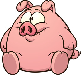 Fat cartoon pig. Vector clip art illustration with simple gradients. All in a single layer.