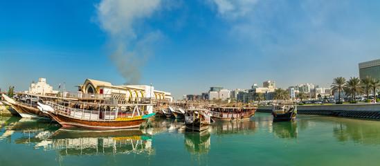 Traditional arabic dhows in Doha, Qatar