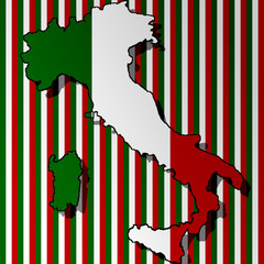Italian flag with a contour of border