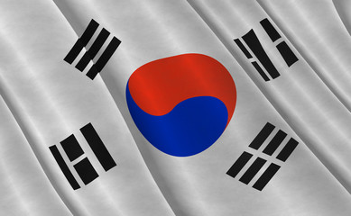 Illustraion of a flying Flag of South Korea