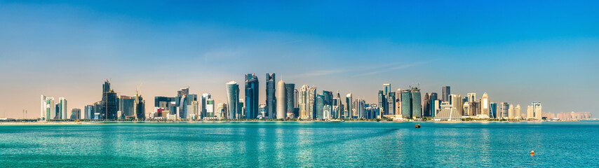 Skyline of Doha, the capital of Qatar.
