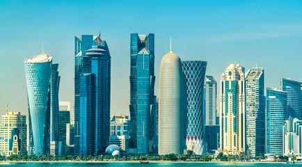 Skyline of Doha, the capital of Qatar.