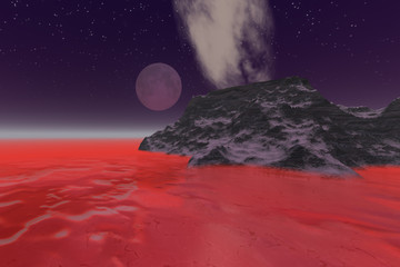 Full moon, a night landscape, frozen sea, red mist and stars in the sky.