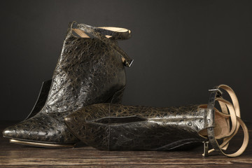 python leather high heels for modern woman