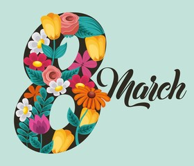 march 8 international womens day greeting card floral image vector illustration