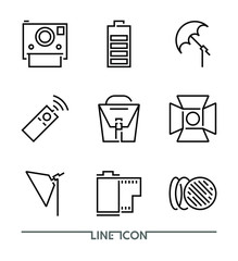 Photography icon set; Multimedia flat thin line Icons vector; Camera Accessories
