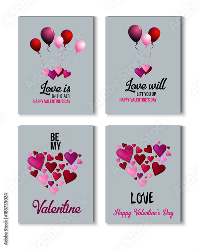 Valentines Day Greeting Cards, Love Holiday Sale Banner Ads Vector ...