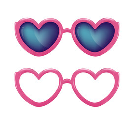Vector realistic eyeglasses heart shape photobooth