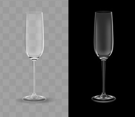 Vector realistic champagne glasses transparent