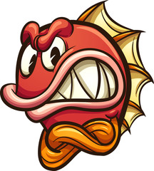 Angry cartoon fish. Vector clip art illustration with simple gradients. All in a single layer.