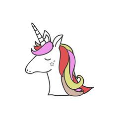 Unicorn vector icon isolated on white. Head portrait horse sticker, patch badge. Cute magic cartoon fantasy cute animal. Rainbow hair. Dream symbol. Design for children