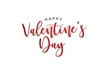 Happy Valentine's Day Holiday Red Glitter Text Over White Background