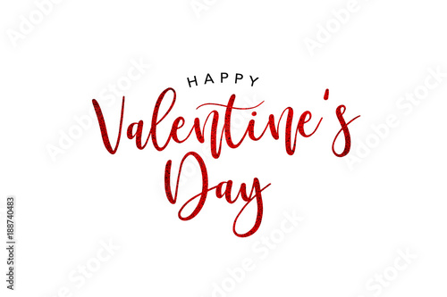 Happy Valentines Day Holiday Red Glitter Text Over White Background