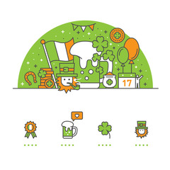 Saint Patrick's Day banner and icons with White Background