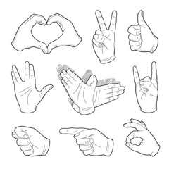 Human vintage hand drawing with pointing finger, peace sign, love gesture, vulcan salute and thumb up, like good quality in retro style.