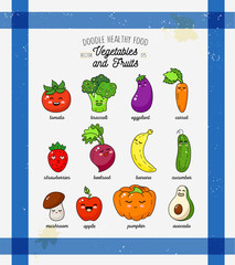 Cartoon funny vegetable characters. Happy smiling vegetable print on kitchen towel.