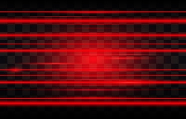 Abstract red laser beams. Isolated on transparent black background. Vector illustration, eps 10