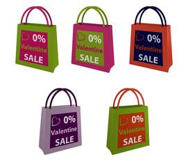 Sammlung von Einkaufstaschen mit Aufschrift für Valentine Sale.