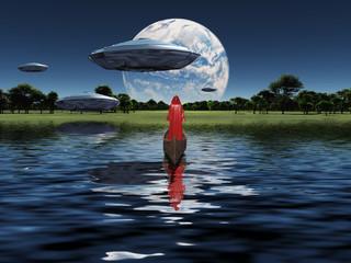 Travelers in space. Monk in red cloak floats in wooden boat