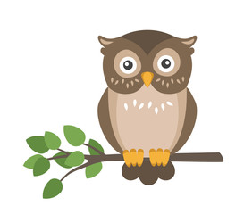 Acrylic Prints Owls cartoon Vector flat cute brown owl sitting on branch isolated on white background