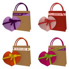 Sammlung von Valentinsherzen mit Einkaufstasche auf der verschiedene Schriftzüge sind.