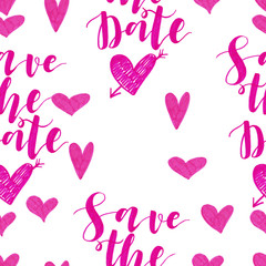 Hand drawn seamless pattern with hearts and lettering. Made with marker