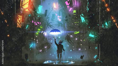 Wall mural sci-fi scene showing the man holding a magic umbrella destroying futuristic city, digital art style, illustration painting