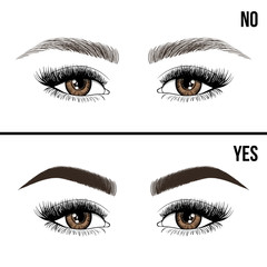 Right and wrong eyebrow coloring and eyebrows shapes. Female eyes and eyebrows vector elements. Types of eye makeup eyebrows. Yes and no vector illustration.