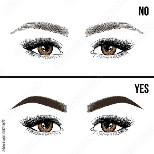 right and wrong eyebrow coloring and eyebrows shapes female eyes